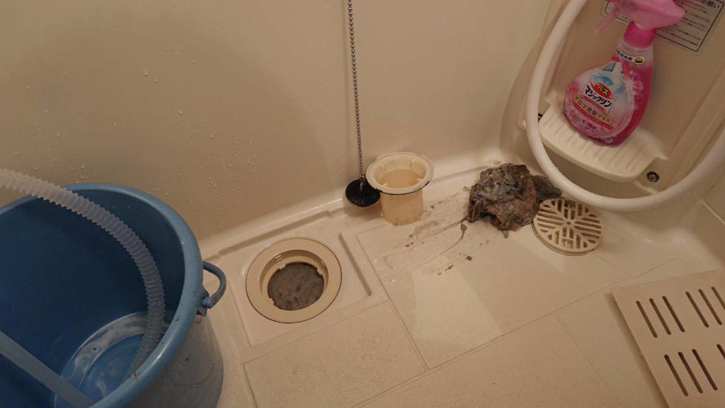 分解された浴室の排水口と汚れの塊