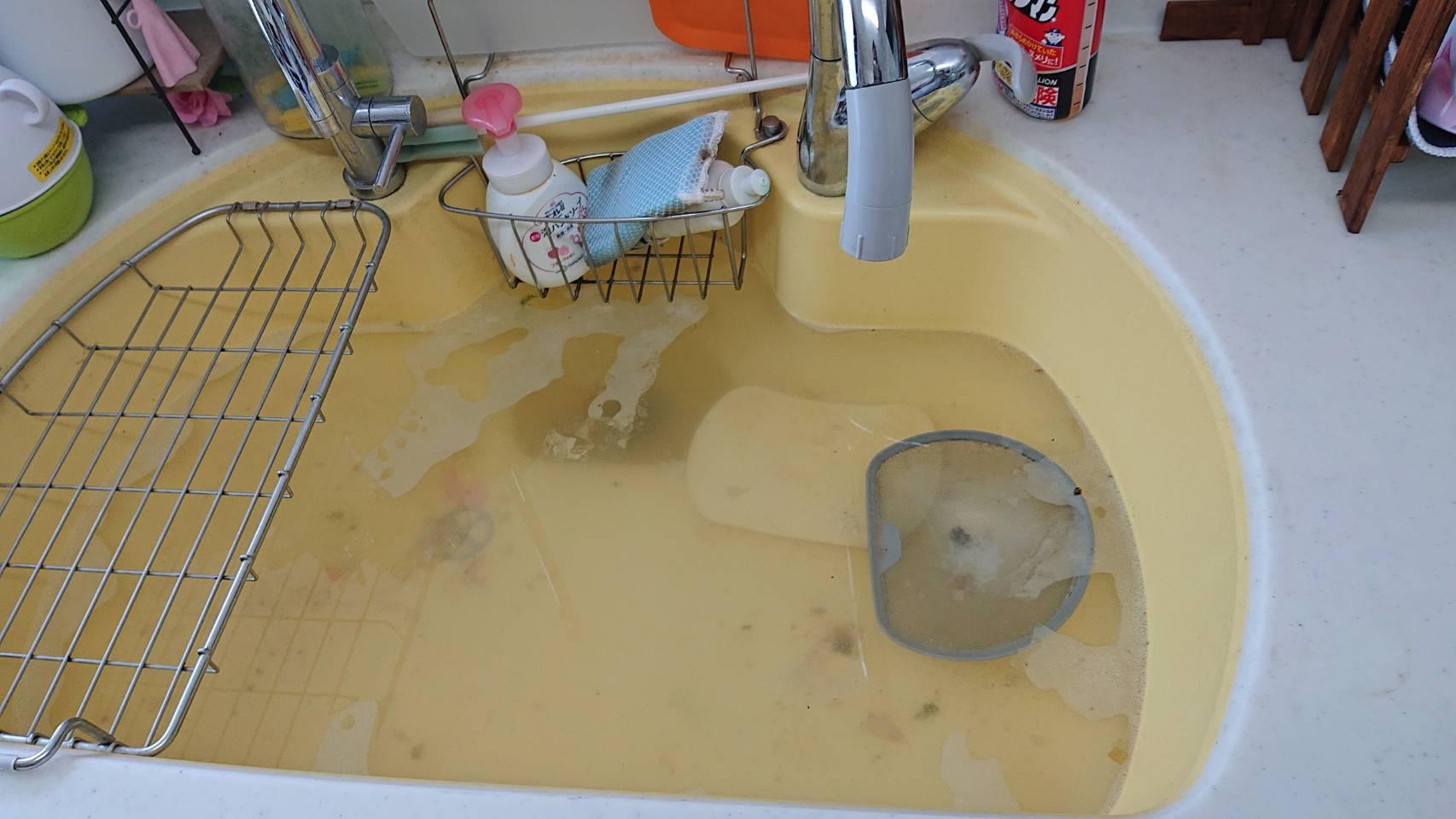 キッチンシンクに水が溜まっている