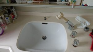 洗面所水漏れ シングルレバー水栓に交換で解決!【熊本県荒尾市の事例】