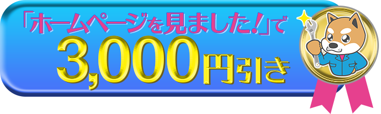 ホームページを見ましたで3,000円引き