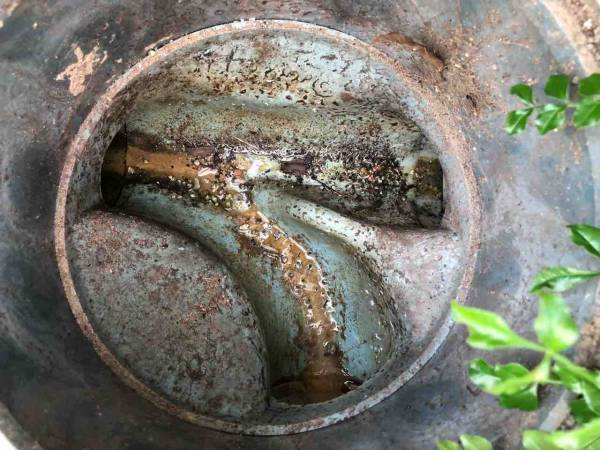 汚れている排水管